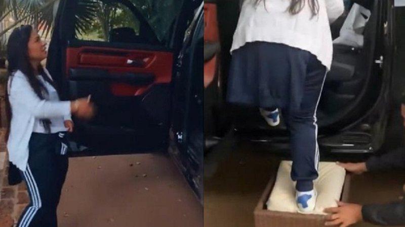 Simone Mendes passa sufoco para subir em novo carro