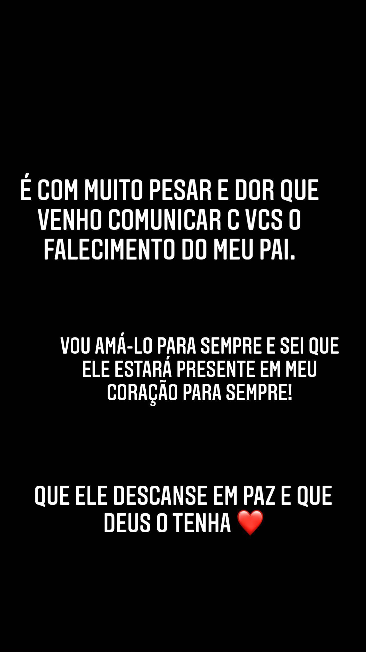 Virgínia Fonseca anunciou morte do pai pelo Instagram - Foto: Reprodução/Instagram
