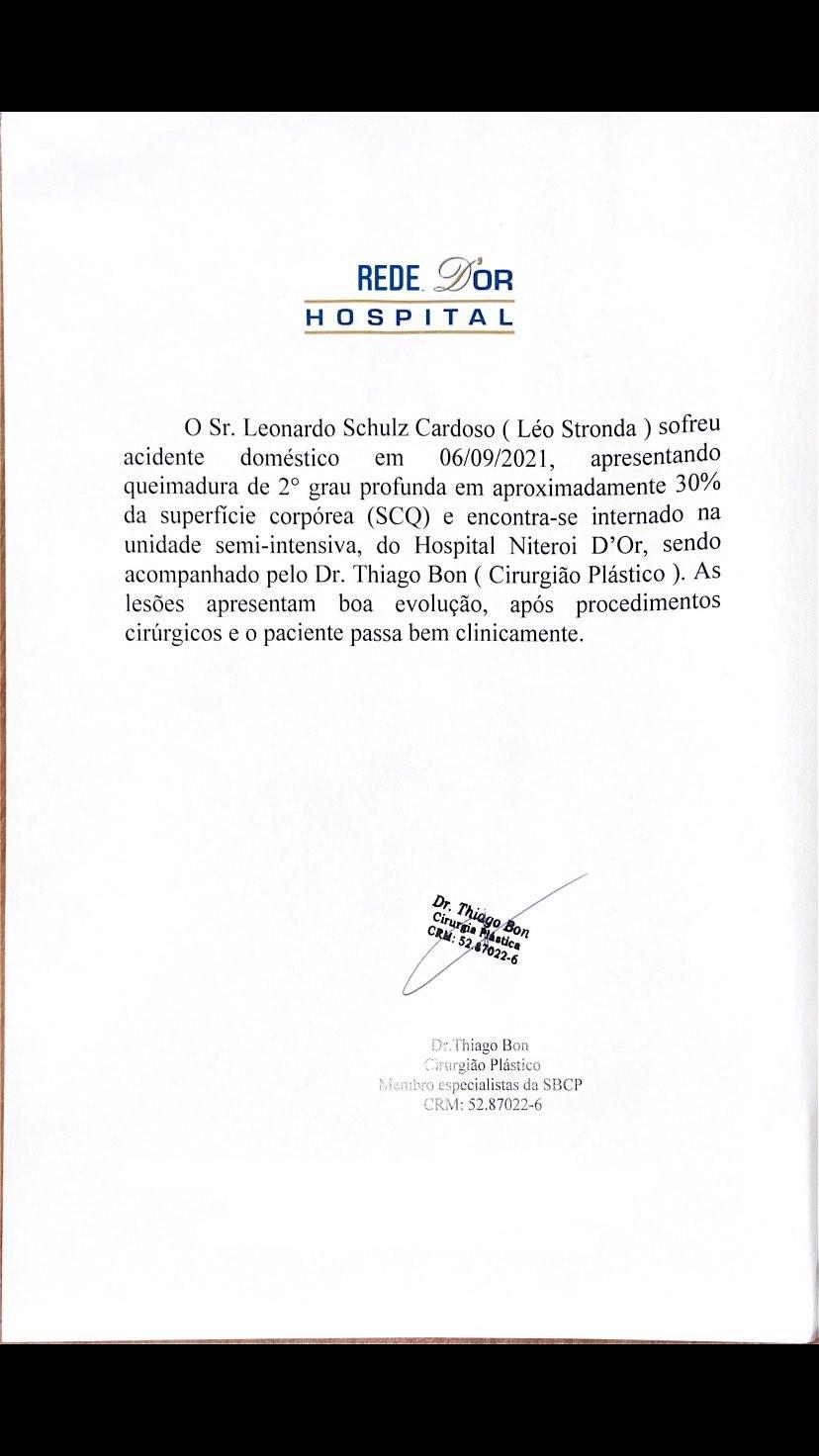 Leo Stronda mostra documento do hospital sobre sua internação - Foto: Reprodução/Instagram