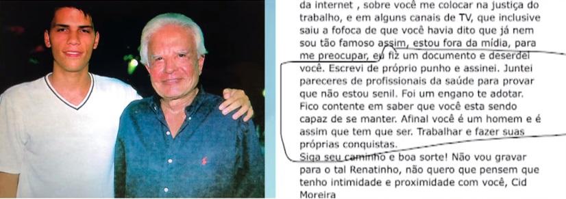 Cid Moreira manda documento para avisar filho que ele está deserdado