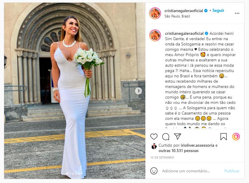 Cris Galêra casou consigo mesma