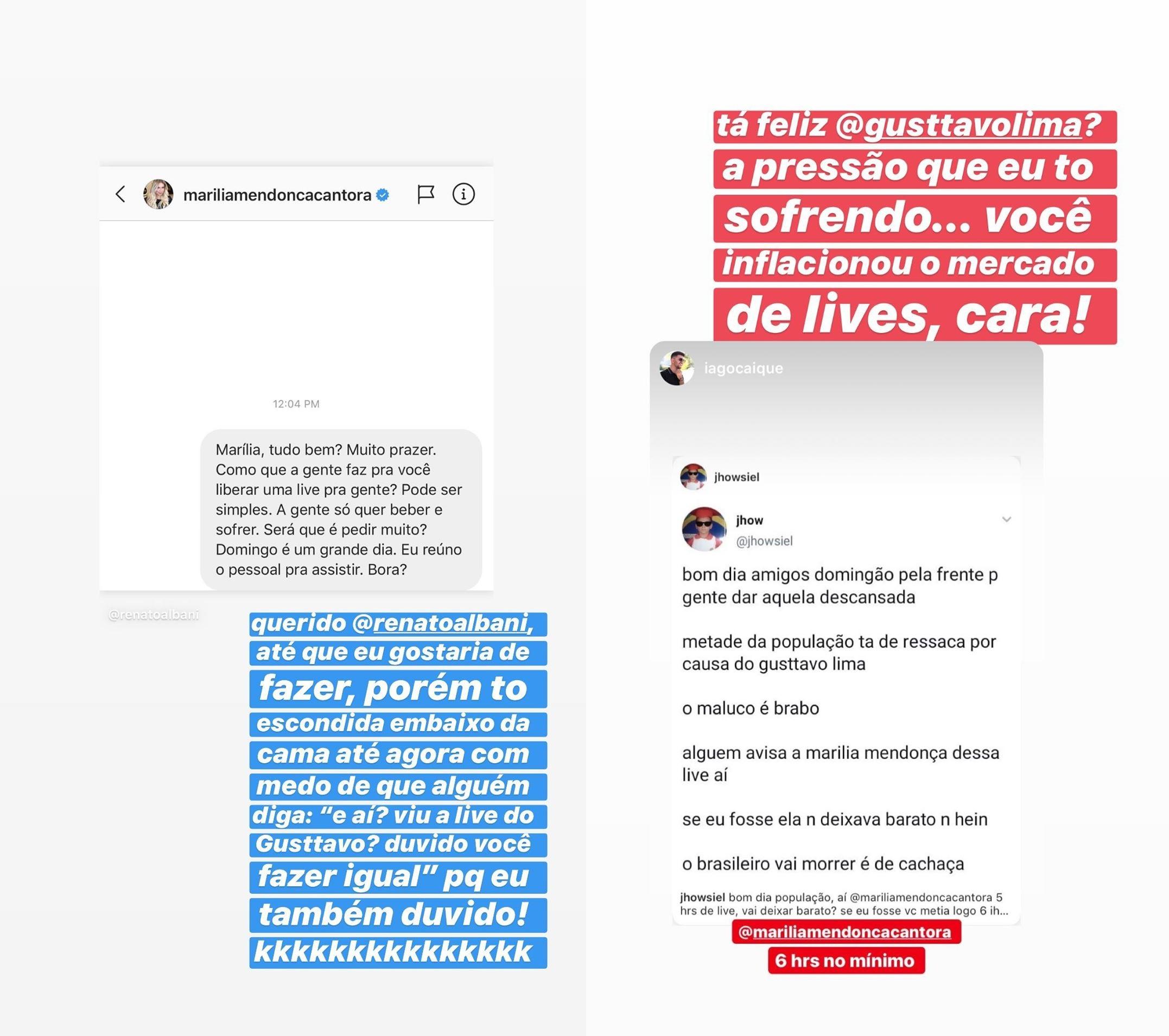 Stories de Marília Mendonça
