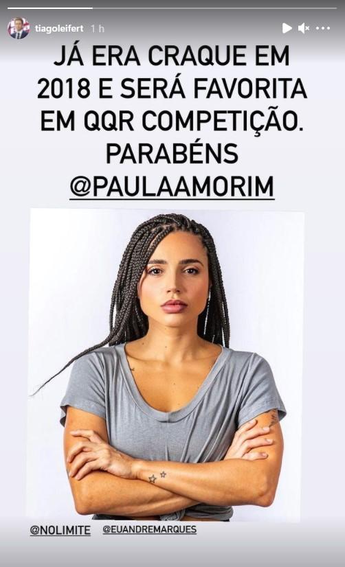 Tiago Leifert elogia Paula Amorim