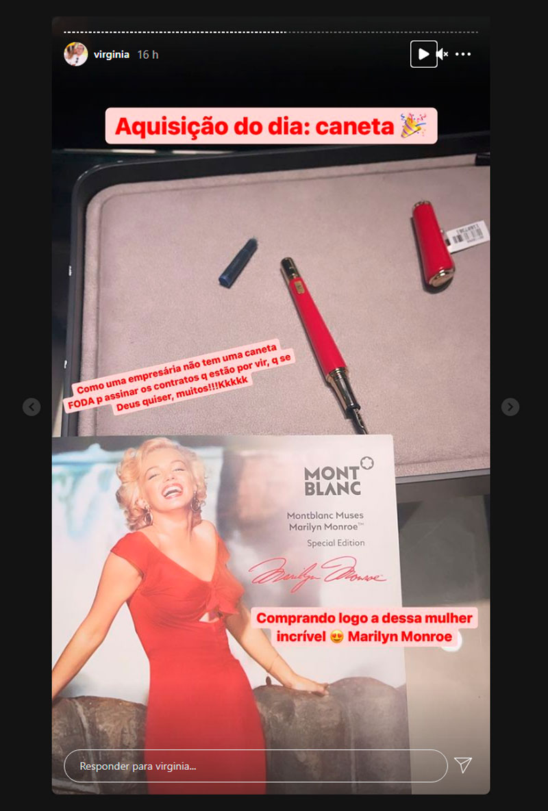 Virginia comprou caneta de 7.700 reais