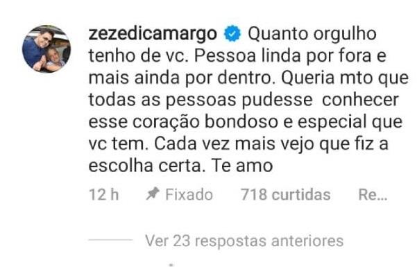 Zezé di Camargo comenta post de Graciele Lacerda